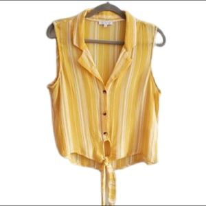Patrons of Peace Yellow Striped Button Up Crop Top
